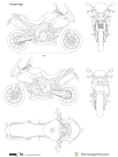 Triumph Tiger Vector Drawing