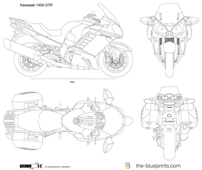 Kawasaki 1400 Gtr Vector Drawing