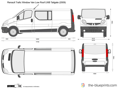 renault trafic window van low roof lwb tailgate vector drawing. Black Bedroom Furniture Sets. Home Design Ideas