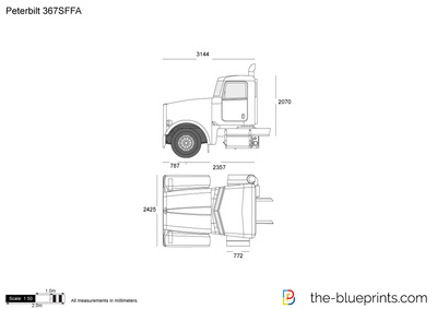 Peterbilt 367SFFA vector drawing