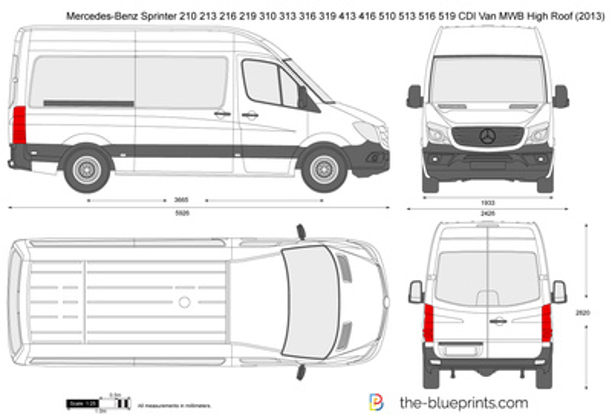 Mercedes-Benz Sprinter 210 213 216 219 310 313 316 319 413 416 510 513 516 519 CDI Van MWB High Roof