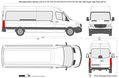Mercedes-Benz Sprinter 310 313 316 319 413 416 510 513 516 519 CDI Van LWB Super High Roof