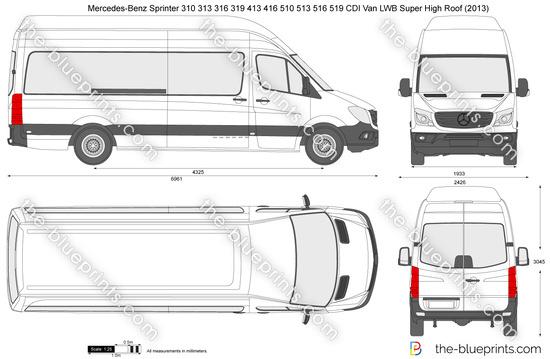 Mercedes-Benz Sprinter 310 313 316 319 413 416 510 513 516 519 CDI Van LWB Super High Roof