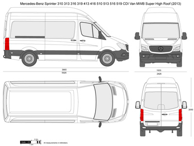 Mercedes-Benz Sprinter 310 313 316 319 413 416 510 513 516 519 CDI Van MWB Super High Roof