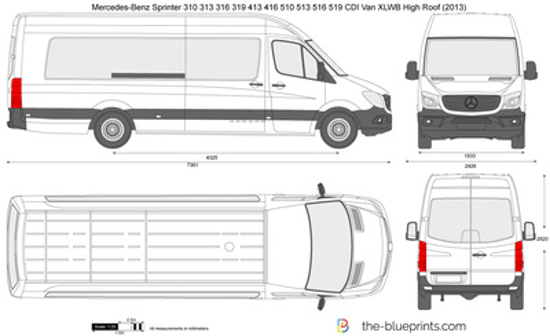 Mercedes-Benz Sprinter 310 313 316 319 413 416 510 513 516 519 CDI Van XLWB High Roof