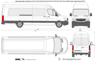 Mercedes-Benz Sprinter 310 313 316 319 413 416 510 513 516 519 CDI Van XLWB Super High Roof