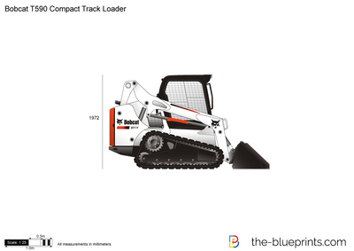 Bobcat T590 Compact Track Loader vector drawing