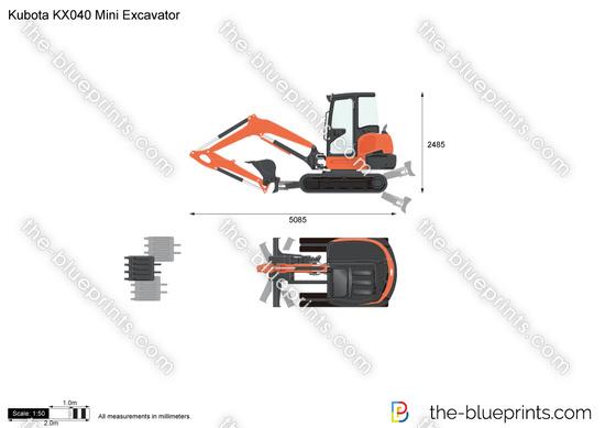 Kubota KX040 Mini Excavator vector drawing