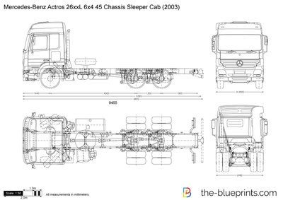Mercedes-Benz Actros 26xxL 6x4 45 Chassis Sleeper Cab