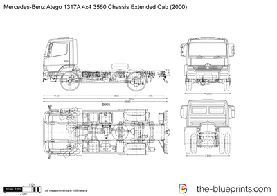 Mercedes-Benz Atego 1317A 4x4 3560 Chassis Extended Cab