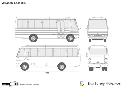 The-Blueprints.com - Vector Drawing - Mitsubishi Rosa Bus