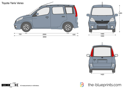 the vector drawing toyota yaris verso. Black Bedroom Furniture Sets. Home Design Ideas