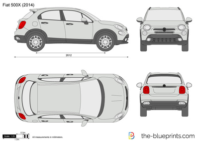 the vector drawing fiat 500x. Black Bedroom Furniture Sets. Home Design Ideas