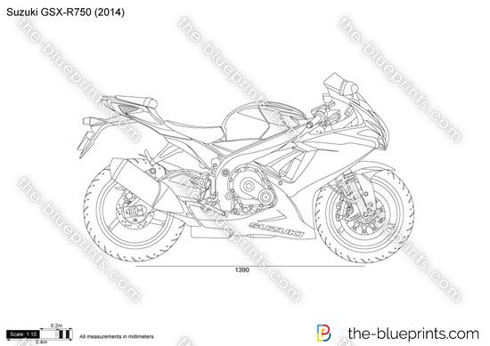 Suzuki Gsx R750 Vector Drawing