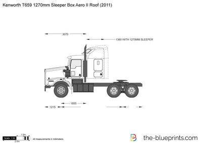Kenworth T659 1270mm Sleeper Box Aero II Roof