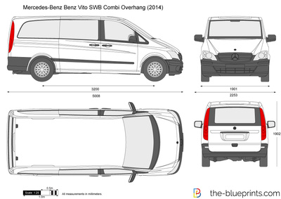 mercedes benz vito swb combi overhang vector drawing. Black Bedroom Furniture Sets. Home Design Ideas