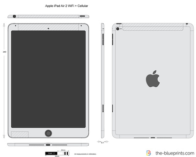 The blueprints vector drawing apple ipad air 2 wifi cellular apple ipad air 2 wifi cellular malvernweather Images