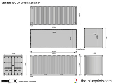 ... -Blueprints.com - Vector Drawing - Standard ISO 20' 20-feet Container