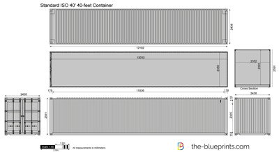 ... -Blueprints.com - Vector Drawing - Standard ISO 40' 40-feet Container