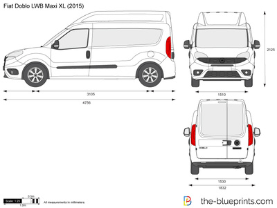 fiat doblo lwb maxi xl vector drawing. Black Bedroom Furniture Sets. Home Design Ideas