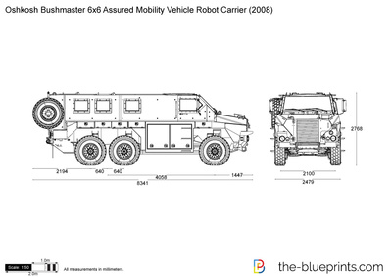 Oshkosh Bushmaster 6x6 Assured Mobility Vehicle Robot Carrier