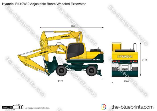 Hyundai R140W-9 Adjustable Boom Wheeled Excavator