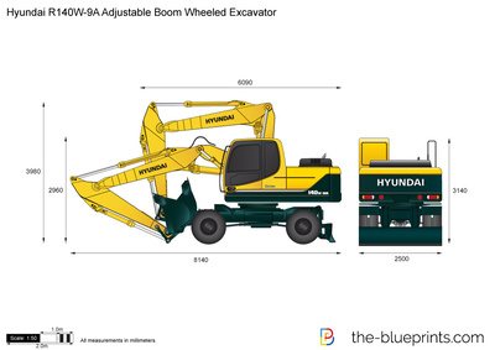 Hyundai R140W-9A Adjustable Boom Wheeled Excavator