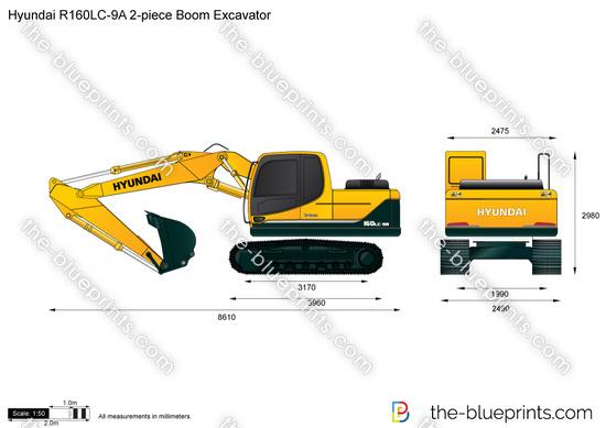 Hyundai R160LC-9A 2-piece Boom Excavator