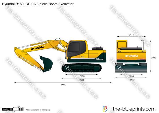 Hyundai R160LCD-9A 2-piece Boom Excavator
