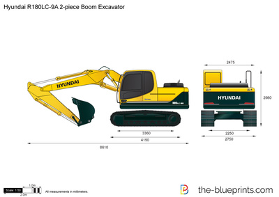 Hyundai R180LC-9A 2-piece Boom Excavator
