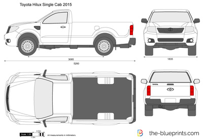 Toyota Hilux Single Cab Vector Drawing