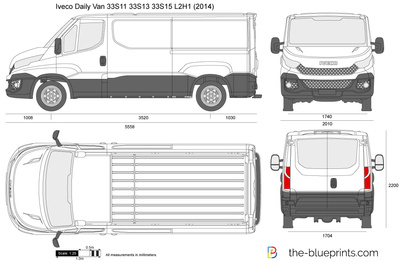 Iveco Daily Van 33s11 33s13 33s15 L2h1 Vector Drawing
