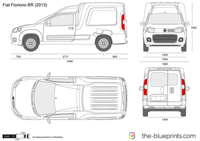 Fiat fiorino br vector drawing for Medidas de un carro arquitectura