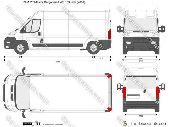 Ram Promaster Cargo Van Lwb 159 Inch Vector Drawing