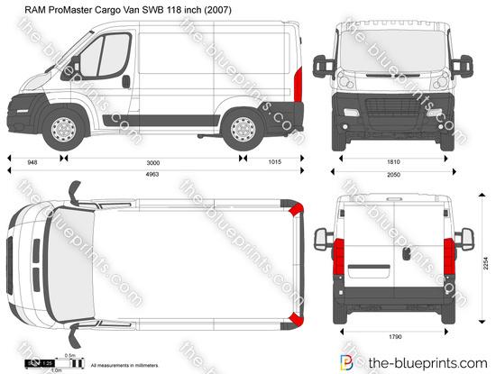 Ram Promaster Cargo Van Swb 118 Inch Vector Drawing
