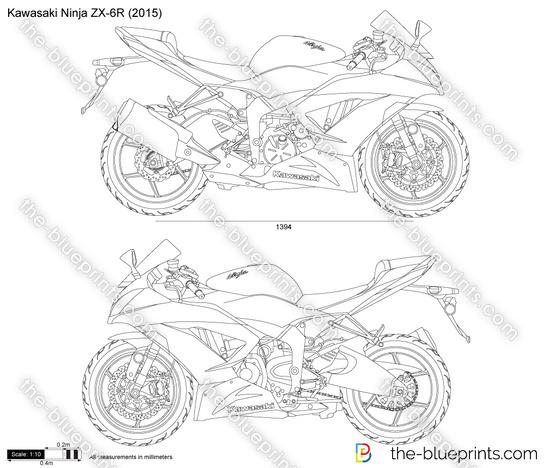 kawasaki coloring pages - kawasaki ninja zx 6r vector drawing