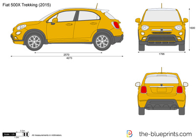fiat 500x trekking vector drawing. Black Bedroom Furniture Sets. Home Design Ideas