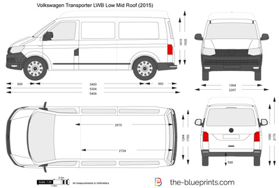 Volkswagen Transporter T6 LWB Low Mid Roof