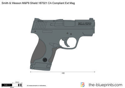 Smith & Wesson M&P9 Shield 187021 CA Compliant Ext Mag