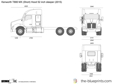 Kenworth T880 MX (Short) Hood 52 inch sleeper