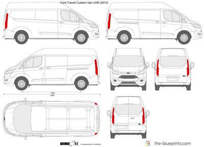 ford transit custom lwb l2h2 vector drawing. Black Bedroom Furniture Sets. Home Design Ideas