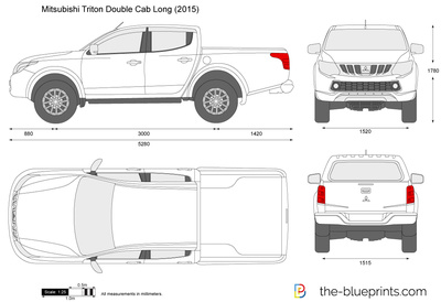 The-Blueprints.com - Vector Drawing - Mitsubishi Triton Double Cab Long