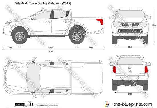 Mitsubishi Triton Double Cab Long Vector Drawing