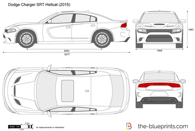 Charger Srt Hellcat >> The-Blueprints.com - Vector Drawing - Dodge Charger SRT ...