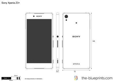 sony xperia z3  vector drawing
