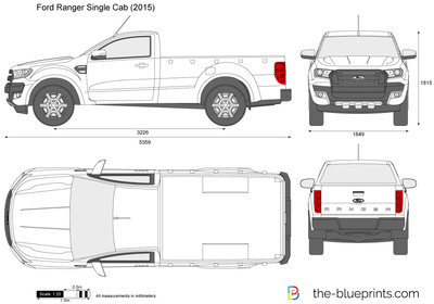 Ford Ranger 2017 Dimensions >> Ford Ranger Single Cab vector drawing