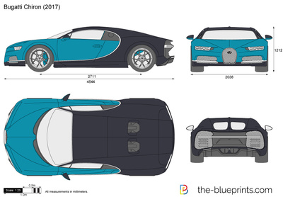 Bugatti Chiron Vector Drawing