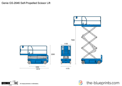 Genie GS-2646 Self-Propelled Scissor Lift vector drawing