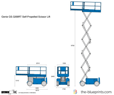 Genie GS-3268RT Self-Propelled Scissor Lift vector drawing