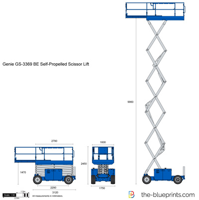 Genie GS-3369 BE Self-Propelled Scissor Lift vector drawing